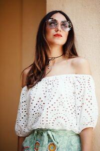Shoulder Embroidered Carmen Stickerei Top Off Woman Zara Crop Crochet xWwgp8Ef0q