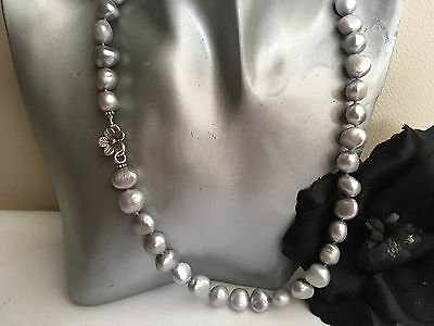 "19.5"" Silver Grey Baroque Cultured Pearl Necklace Silver Flower Hook Clasp"