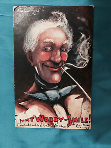 Tuck-039-s-Postcard-Don-039-t-Worry-Smile-artist-signed-Dilette-man-with-pipe-1906-Switz
