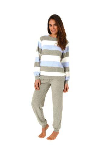 Damen Frottee Schlafanzug Pyjama mit Bündchen tolle Streifenoptik 201 93 238