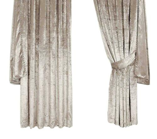 PEARL MINK CRUSHED VELVET FULLY LINED PENCIL PLEAT CURTAINS 8 SIZES