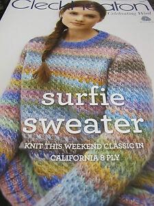 Cleckheaton Knitting Pattern Corrections : CLECKHEATON KNITTING PATTERN,NEW,NO 1009,SURFIE SWEATER,CALIFORNIA YARN eBay