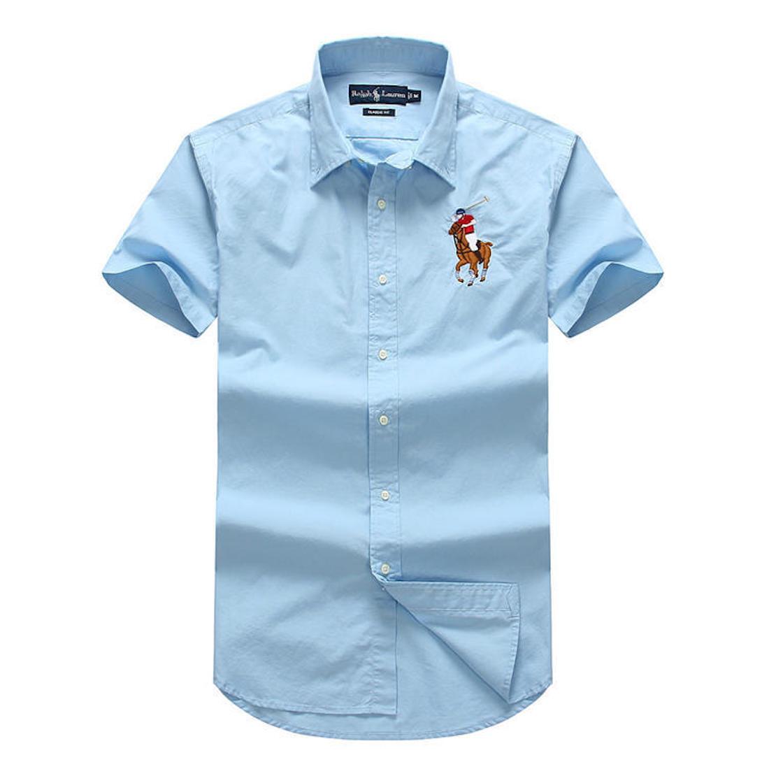 Polo Ralph Ralph Ralph Lauren Manica Corta Camicia Button Down da Uomo f77a61