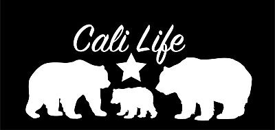 A California bear family vinyl sticker//decal great for car or laptop cali life