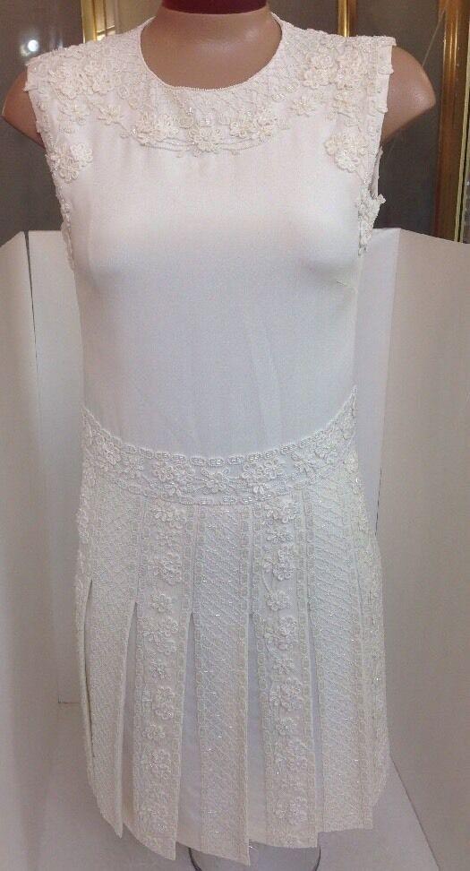 Valentino Dress Antique White Heavy Beaded Beaded Beaded Pleated Skirt NWT 11,000 Size 2 fa6a77