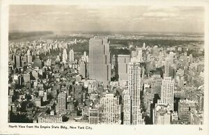 NEW-YORK-CITY-North-View-from-The-Empire-State-Building-Real-Photo-Postcard-rppc