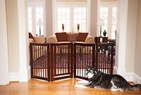 Free Standing Wooden Pet Gate Dog Fence Doorway Baby Safety Hallway Indoor Home