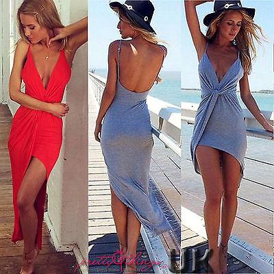 UK Sexy Celeb Womens Backless Maxi Summer Beach Dress Evening Cocktail Dress