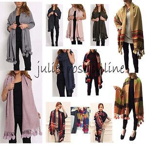 Women-Ladies-Real-Rabbit-Fur-Pom-Pom-Wool-Mix-Plain-Check-Scarf-Shawl-Wrap-Uk