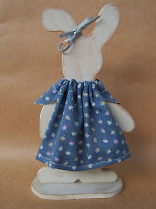 Hand crafted, Hand painted Primitive Wooden Bunny Shelf Sitter