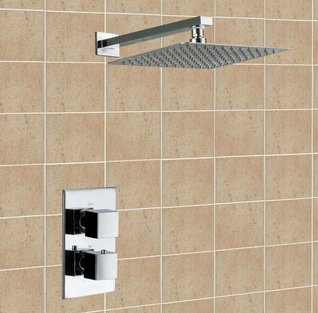 SQUARE BATHROOM THERMOSTATIC SHOWER MIXER VALVE SET ULTRA THIN HEAD SOLID BRASS