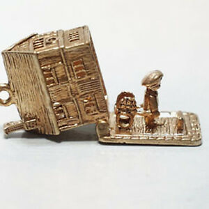 14k gold vintage ENGLISH MANOR or COLONIAL HOUSE charm