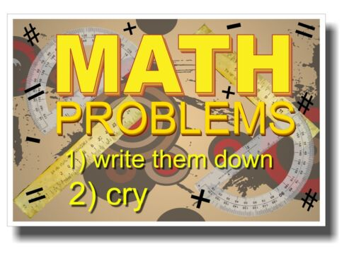 NEW Humor Poster Math Problems