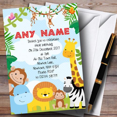 Animaux de Jungle de Safari lumineux Childrens Birthday Party Invitations