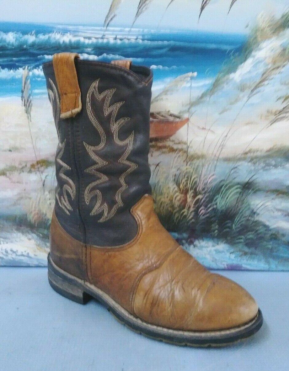 Femme Double-H USA Cowboy Western démarrage taille 6 M deux tons en cuir marron 3398