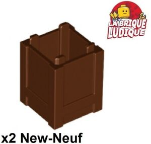 Container Box 2x2x2 Top Opening NEUF NEW 4 x LEGO 61780 Caisse marron brown