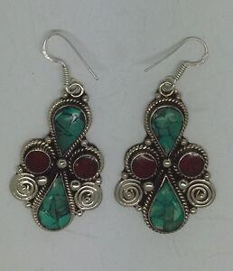 Asian-sterling-silver-earrings-ethnic-handmade-hook-classic-tops-turquoise-ERU1