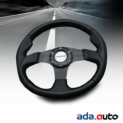 350mm Universal 6-Bolt PVC Leather Jet Style JDM Black Racing Steering Wheel