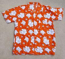 "HAWAIIAN Tropical Mens Short Sleeve Hibiscus Shirt Orange White Rayon XL 40"""