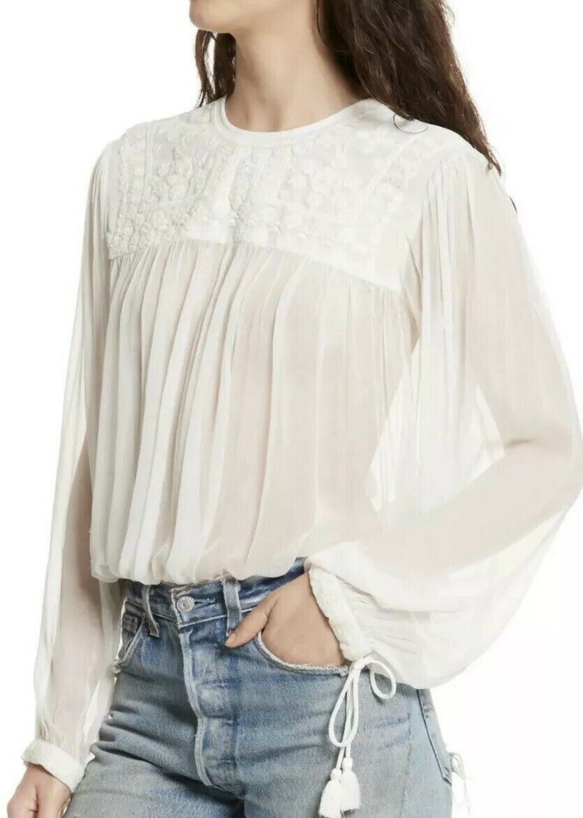30. NWT FREE PEOPLE RETRO EMBROIDErot & BEADED LONG SLEVE SHEER BLOUSE IVORY L
