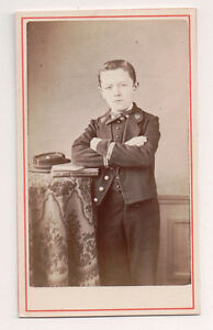 Vintage-CDV-French-Military-Boy-Cadet-Uniform-Cap-Soldier-Badie-Photo-Paris