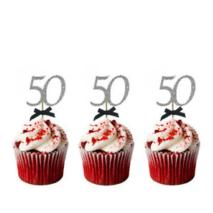 Image Is Loading 50th Birthday Cupcake Toppers With Bows Glittery Silver
