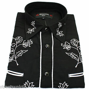 Relco-Black-Cowboy-Western-Line-Dancing-Flower-Embroidered-Shirt-Red-Star-Rodeo