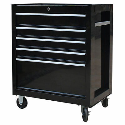 NEW Kobalt 5 Drawer Trolley Black 68cm