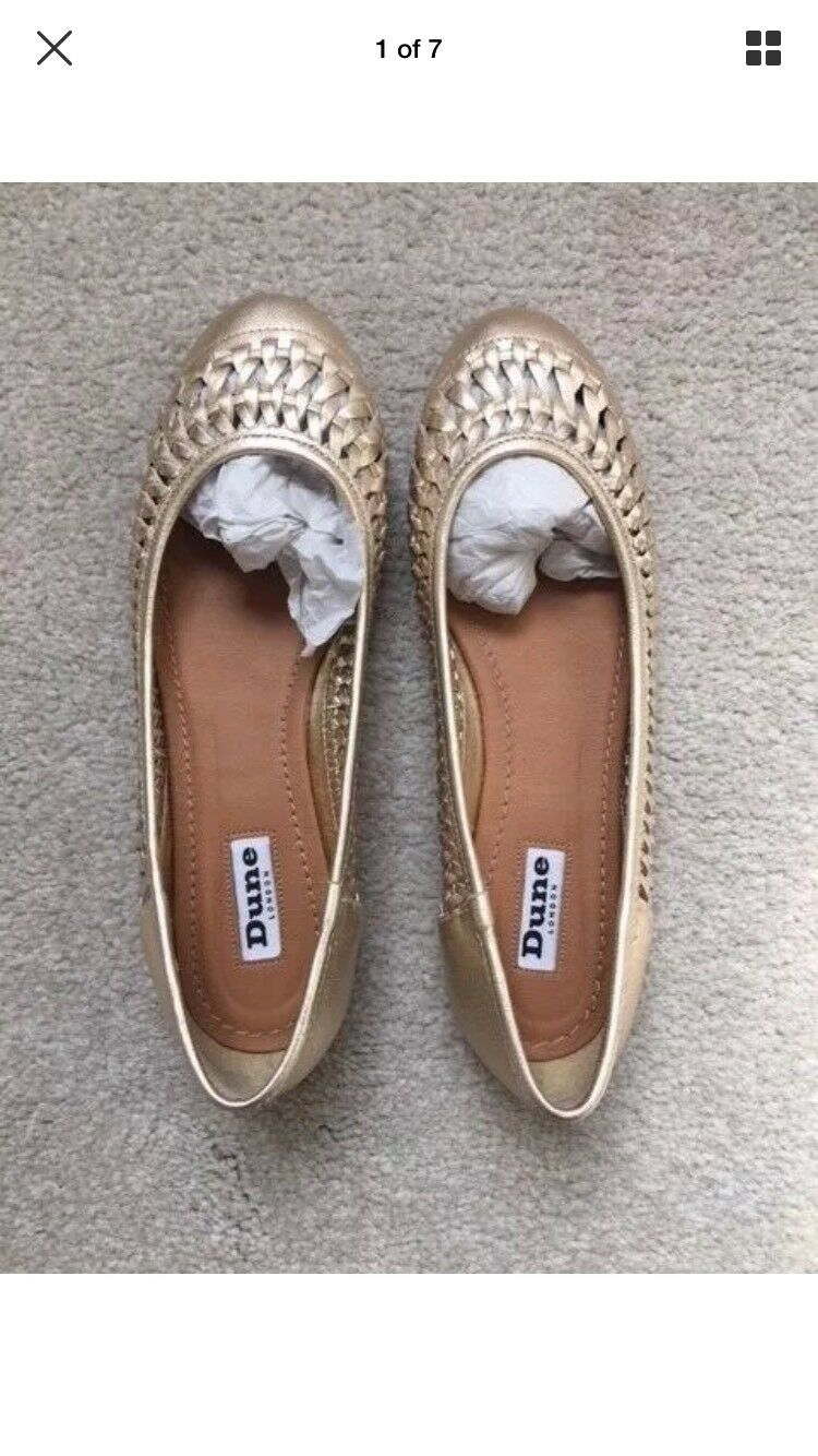 Dune gold leather flats size 5 38