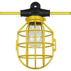 50 ft. Temporary Lighting String Work Light Commercial Heavy Duty w/ Bulb Cages eBay