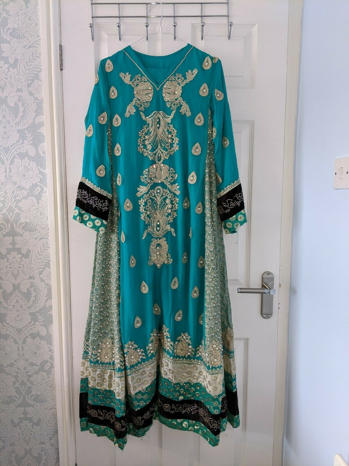 XS Blue/Green Pearls Embellished Embroidered Pakistani Wedding Asian Suit