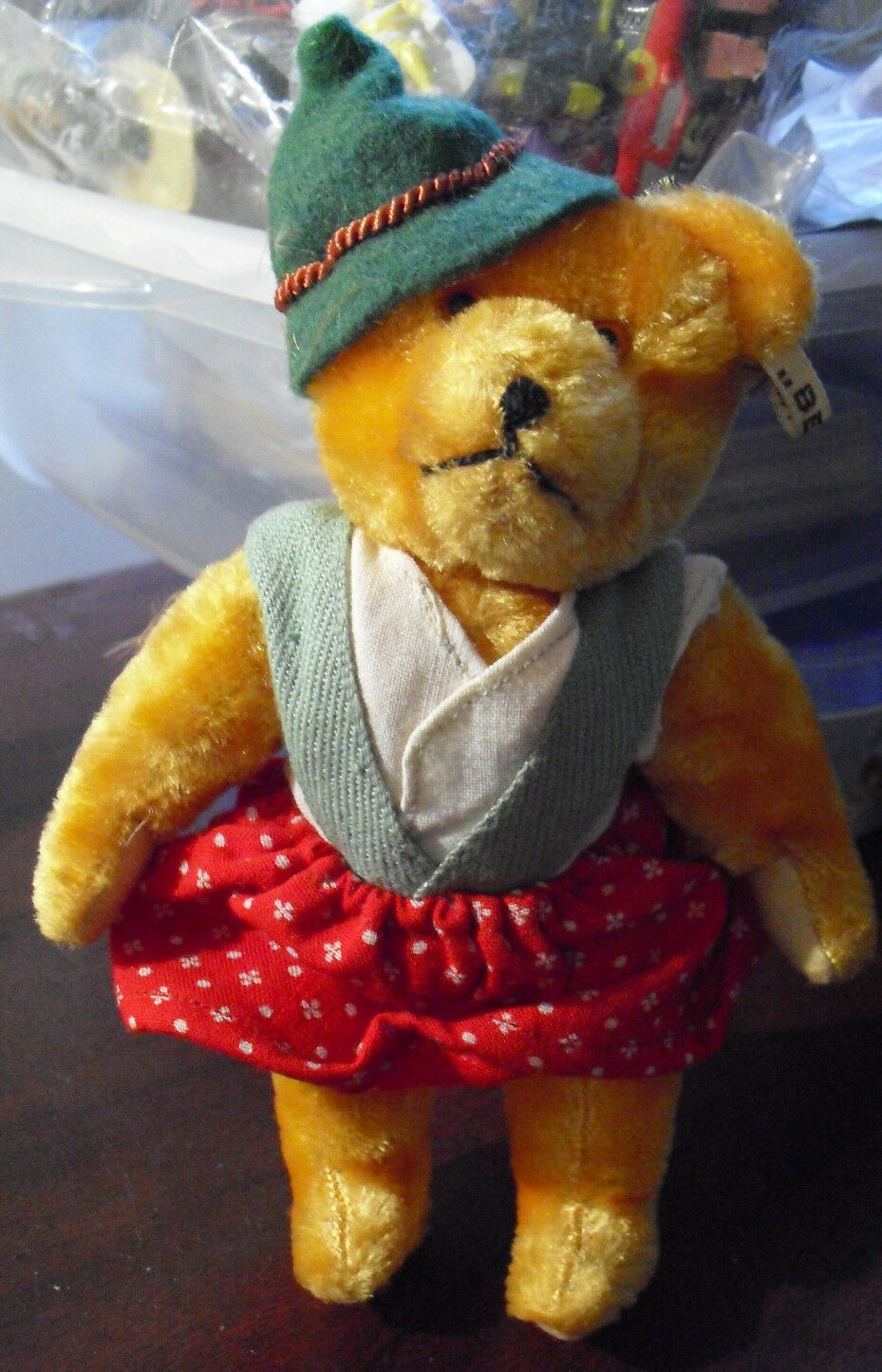 RARE Vintage 1950s BERG Austria Jointed Mohair Bear wih All Tags 6 1 2  Tall