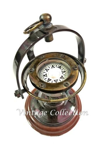 Gimbled Messing Kompass nautischen Messing Kompass auf Holzsockel Schiff Kompass