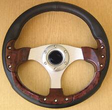 Sportlenkrad Holz Style 320mm Lenkrad aus PVC Lederimitat Leder Imitat