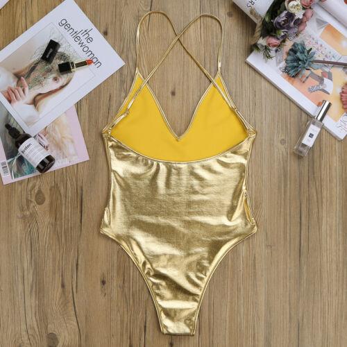 L Women PVC Wet Look One Piece Monokini Swimwear Leotard Shiny Bodysuit Clubwear