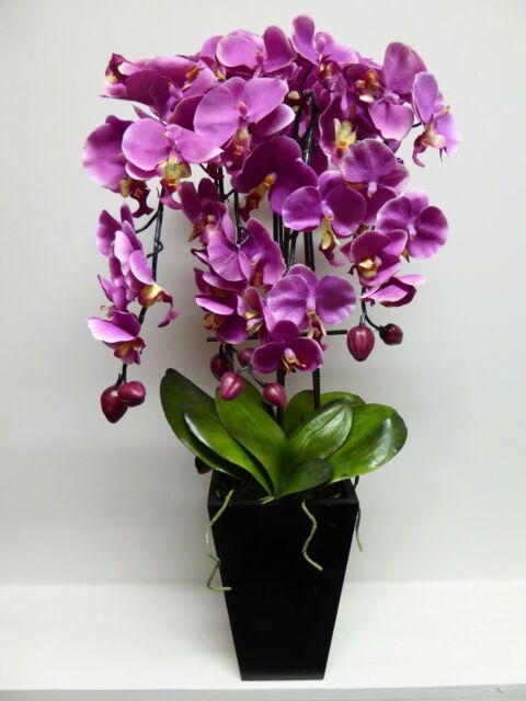 Large Artificial Pink Orchid In A Black Wooden Pot Potted Flowers