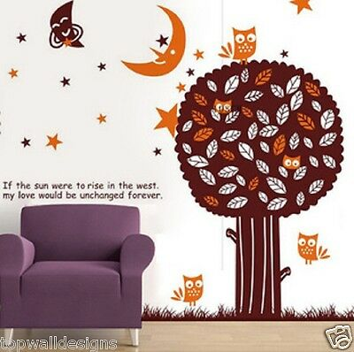 GIANT Fall Tree Owl Home Wall Decor Art Nature Star 851 Gift Wall Sticker Decal