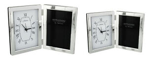 Free-Standing-Plain-Photo-Frame-with-Clock-Hinged-Open-Book-Style-Picture-Mantel