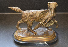 Beautiful Bronze Retriever Dog With Bird 23cm tall Fratini 1842