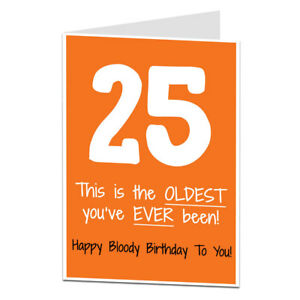 Image Is Loading 25th Birthday Card 25 Today For Men Amp