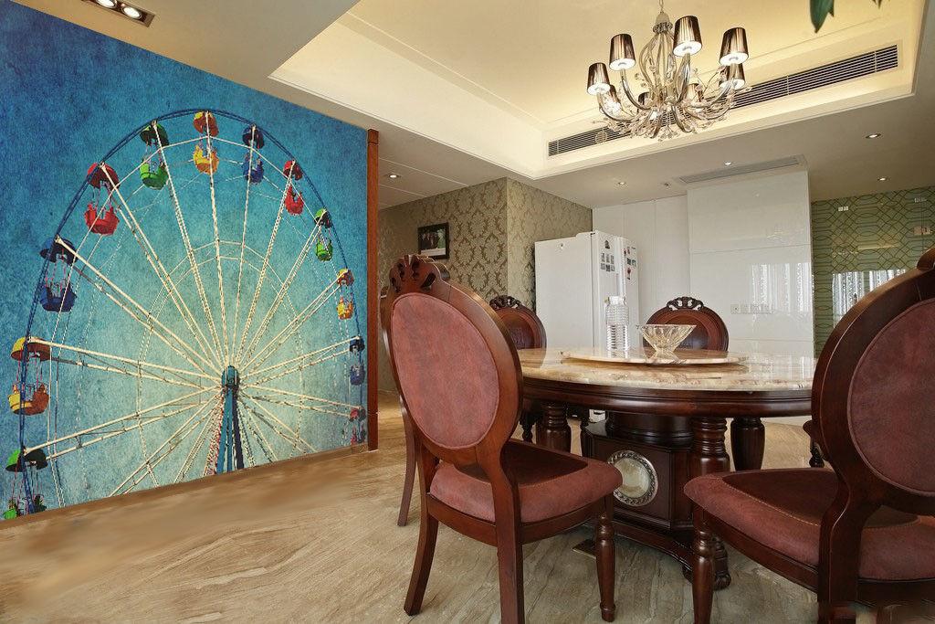 3D Sky Ferris Wheel 7 Wallpaper Mural Paper Wall Print Wallpaper Murals UK Lemon