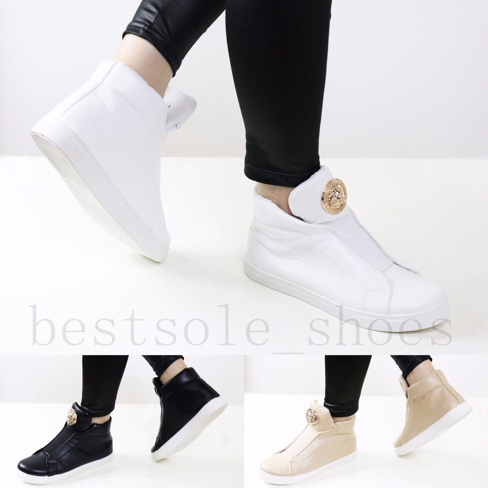 Ladies Sneakers Women High Top Trainers Sneakers Ladies Padded Tongue Plimsolls Ankle Boots Size 06f8e5