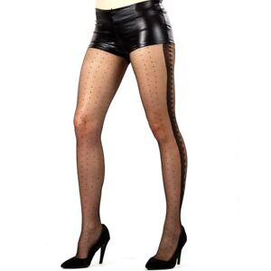 31e589bf44c Image is loading Leggsbeautiful-Sheer-Spot-Tights-With-Scalloped-Side-Seam