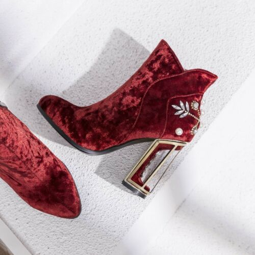 Details about  /Chic Trendy Velvet Pearls Hollow Block High Heels Ankle Boots Plus Size Zha19