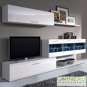 Dettagli su Parete attrezzata HOLLY mobile tv design bianco vetrina pensili  base soggiorno