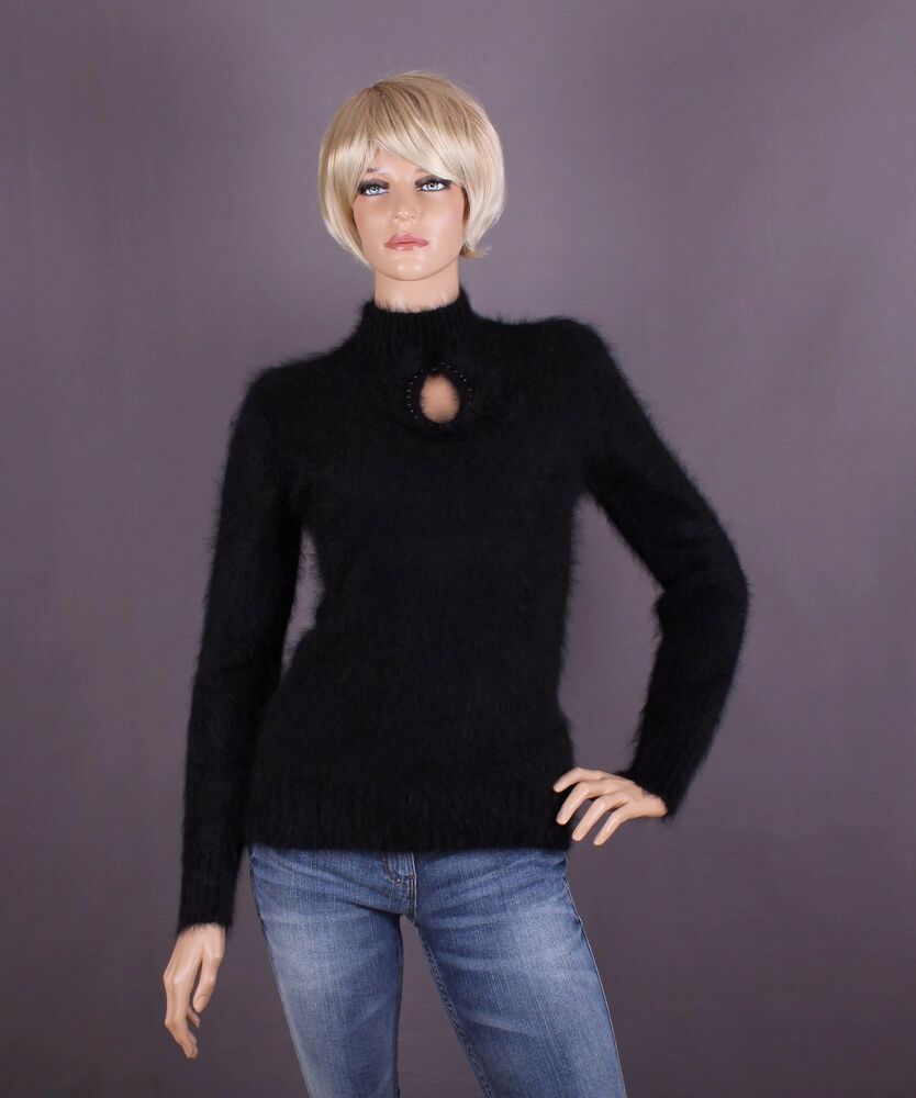 Angora Pull Femmes, Couleur: Noir Et Taille: S, M Ou L (au Choix)