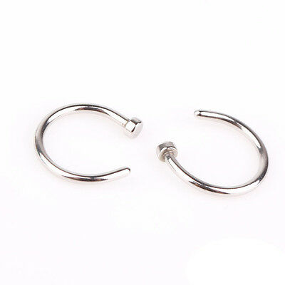 2pcs Cute Surgical Steel Nose Open Hoop Ring Studs Earring Body Piercing Jewelry