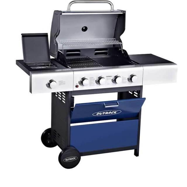Outdoor Garden Outback Meteor Select 4 Burner Gas BBQ Barbecue Free Regulator