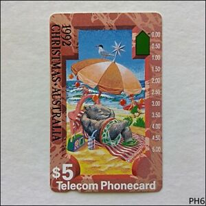 Telecom-1992-Christmas-Wombat-At-The-Beach-N920622-229-5-Phonecard-PH6