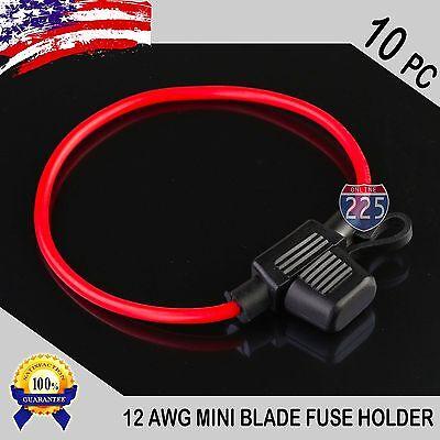 5 Pack 14 Gauge APM ATM MINI Blade Inline Fuse Holder 100/% OFC Copper Wire US
